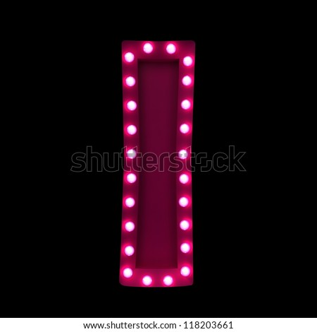 letter I with neon lights isolated on black background - stock photo