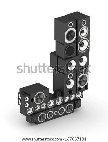 Letter J from black hi-fi speakers sound systems  in isometry - stock photo