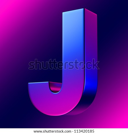 Letter J from blue-magenta solid alphabet. There is a clipping path - stock photo