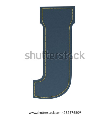 letter J from denim - jeans, on a white background, high specification of fabric, it is stitched by the yellow high-detailed threads - stock photo