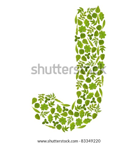 Letter J from green leafs - stock photo