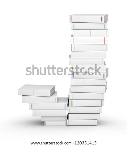 Letter J, stacked from many blank title books in column - stock photo