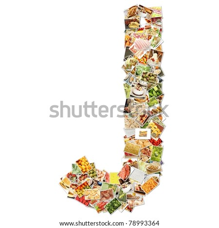 Letter J with Food Collage Concept Art - stock photo