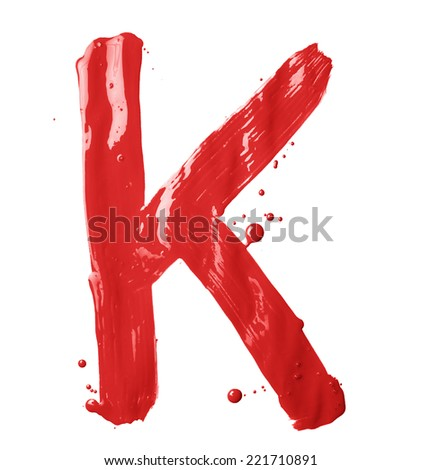 Letter K character hand drawn with the oil paint brush strokes, isolated over the white background