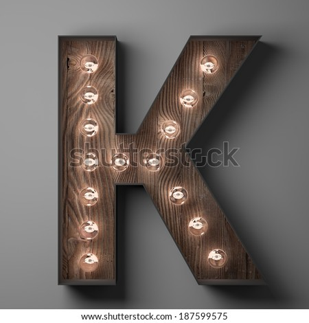 Letter K for sign with light bulbs - stock photo