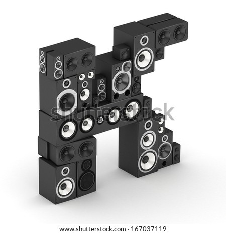 Letter K from black hi-fi speakers sound systems  in isometry - stock photo