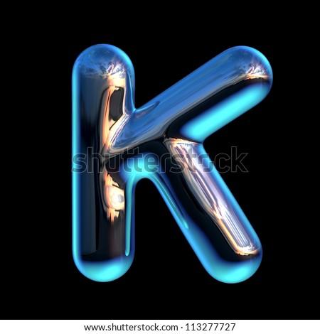letter k chrome blue sunset alphabet stock illustration 113277727