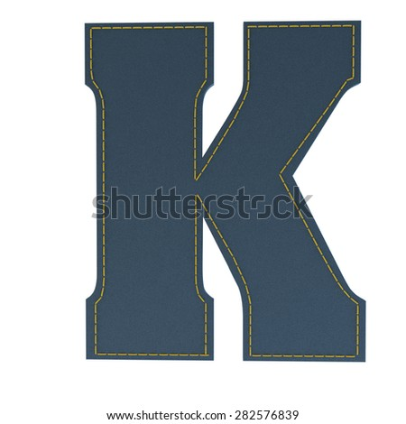 letter k from denim - jeans, on a white background, high specification of fabric, it is stitched by the yellow high-detailed threads - stock photo