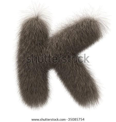 Letter K from fur alphabet - stock photo