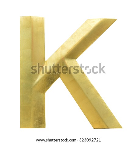 Letter K from Gold solid alphabet. There is a clipping path - stock photo