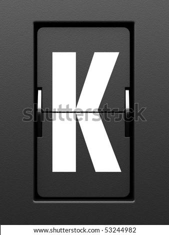 Letter K from mechanical scoreboard alphabet - stock photo
