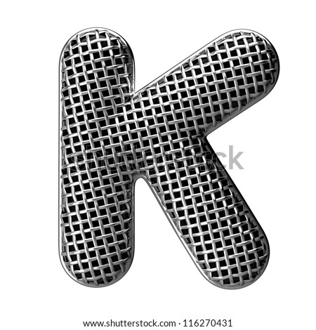Letter K from round microphone style alphabet. There is a clipping path - stock photo