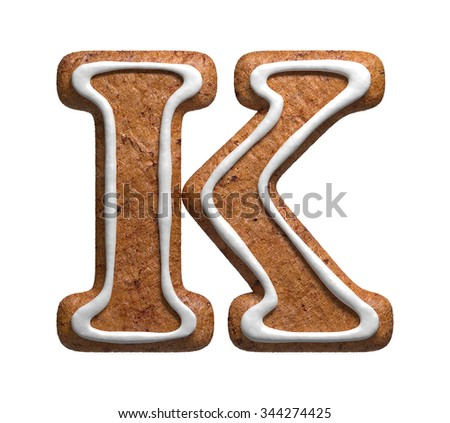 Letter K. Gingerbread font. Christmas cookies alphabet. - stock photo