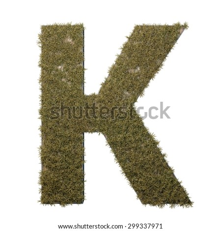 Letter K made of dead grass, growing on wood with metal frame - stock photo