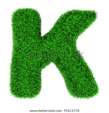 Letter K, made of grass isolated on white background. - stock photo