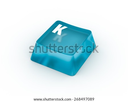 Letter K on transparent keyboard button - stock photo