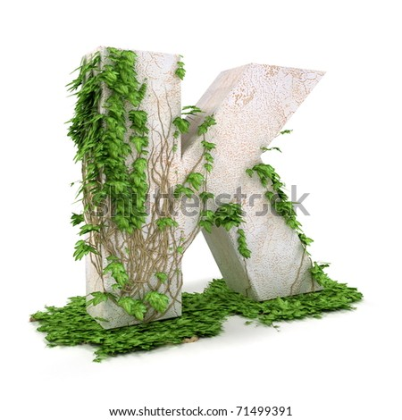 Letter K threads covered with ivy isolated on white background. - stock photo