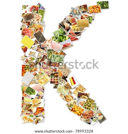 Letter K with Food Collage Concept Art - stock photo
