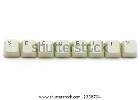 letter keys close up, concept of computer security - stock photo