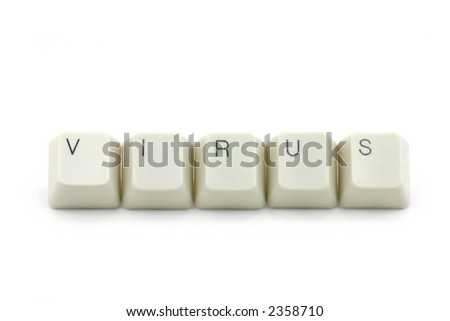 letter keys close up, concept of computer virus - stock photo