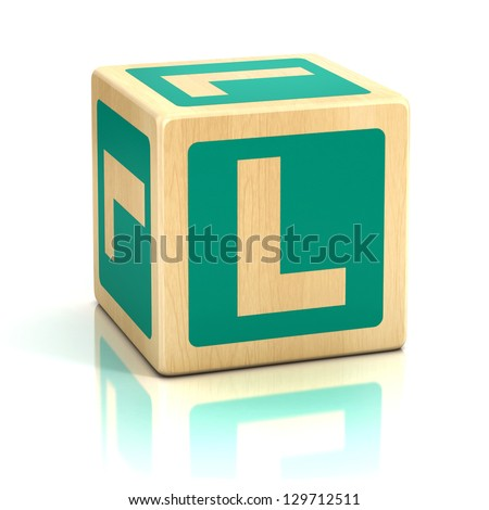 letter L alphabet cubes font - stock photo