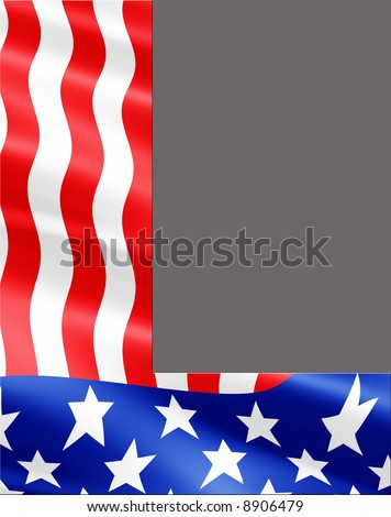 Letter L cut from rippling American flag