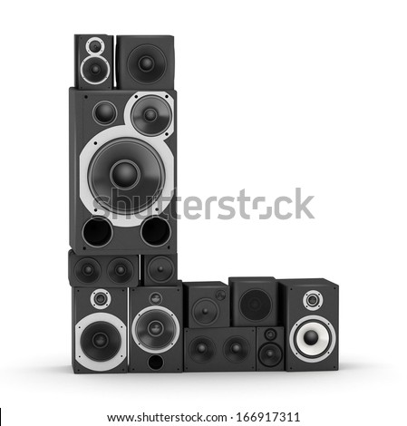 Letter L from black hi-fi speakers sound systems - stock photo