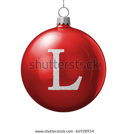 Letter L from cristmas ball alphabet. There is a clipping path - stock photo