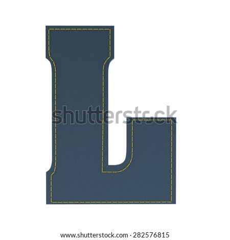 letter L from denim - jeans, on a white background, high specification of fabric, it is stitched by the yellow high-detailed threads - stock photo