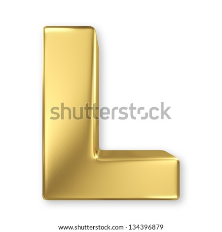 Letter L from gold solid alphabet - stock photo
