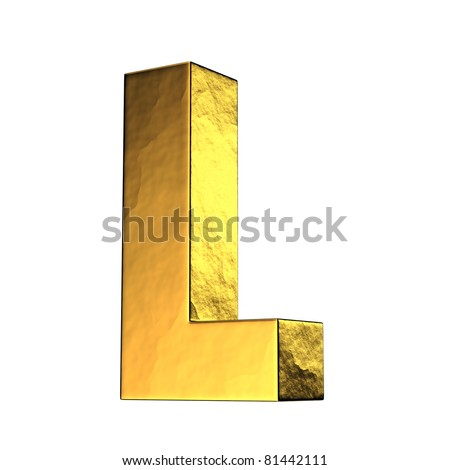Letter L from gold solid alphabet. There is a clipping path - stock photo