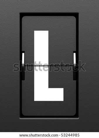 Letter L from mechanical scoreboard alphabet - stock photo