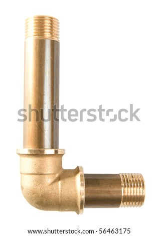 Letter L from water pipes - stock photo