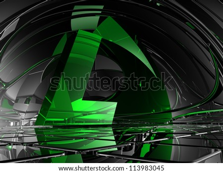 letter l in abstract futuristic space - 3d illustration