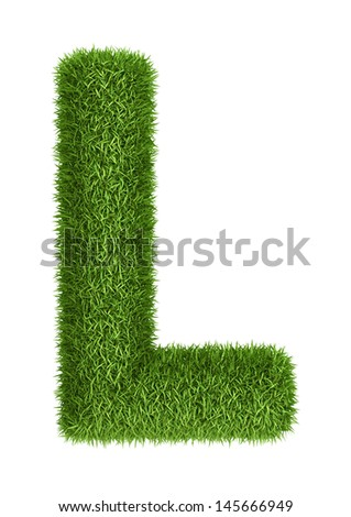 Letter L  isolated photo realistic grass ecology theme on white - stock photo