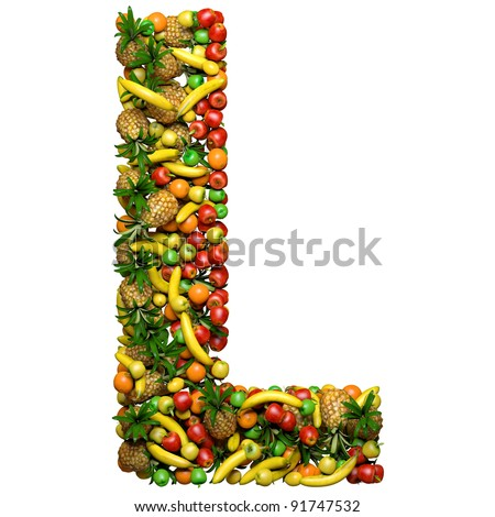 Letter - L made from 3d fruits. Isolated on a white.