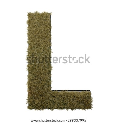 Letter L made of dead grass, growing on wood with metal frame - stock photo