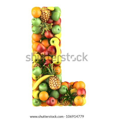Letter - L made of fruits. Isolated on a white.