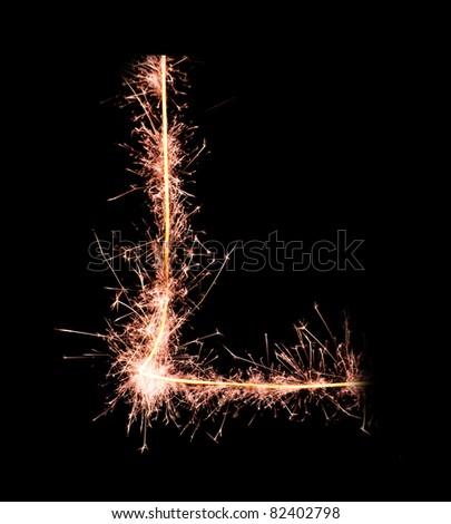 Letter L. Real sparkler alphabet - stock photo