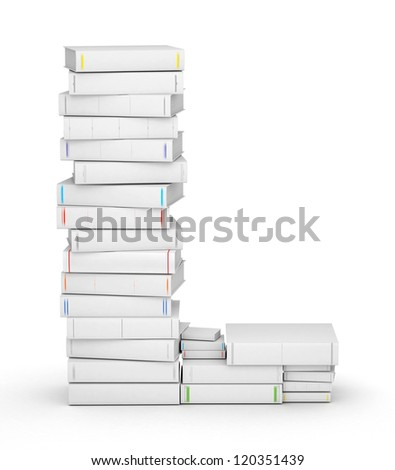 Letter L, stacked from many blank title books in column - stock photo
