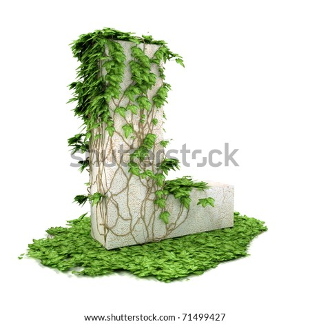 Letter L threads covered with ivy isolated on white background. - stock photo
