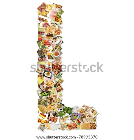 Letter L with Food Collage Concept Art - stock photo