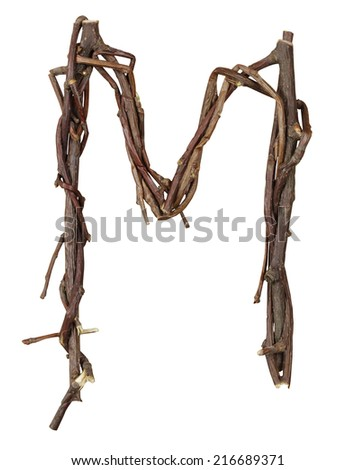 Letter M. Alphabet from the branches of birch are isolated on a white background. Wooden font. - stock photo