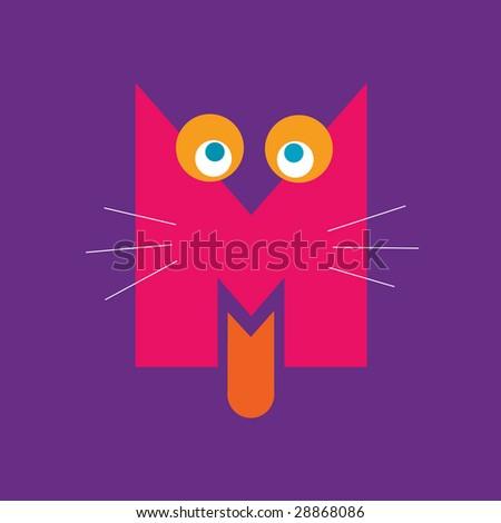 letter M alphabet symbol illustration - stock photo