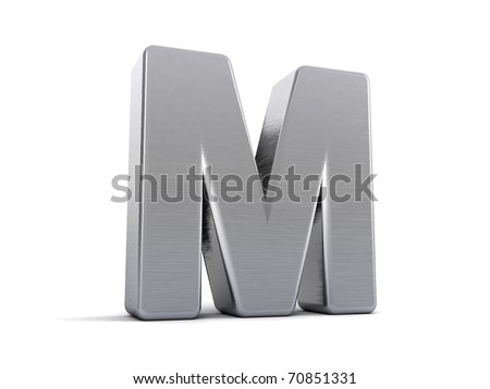 Letter M as a brushed metal 3D object - stock photo