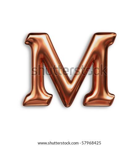 letter M , copper color - stock photo
