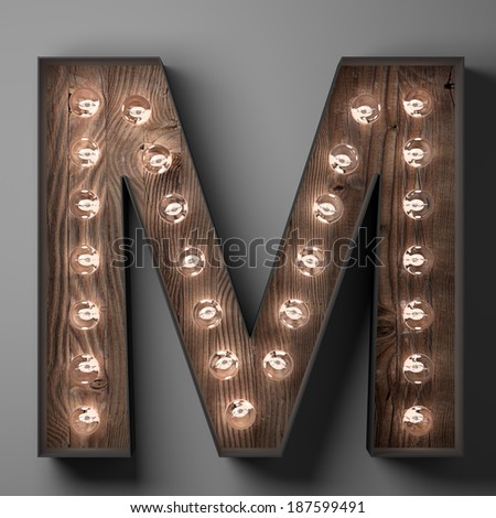 Letter M for sign with light bulbs - stock photo