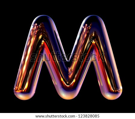 Letter M from chrome night city alphabet isolated on black - stock photo