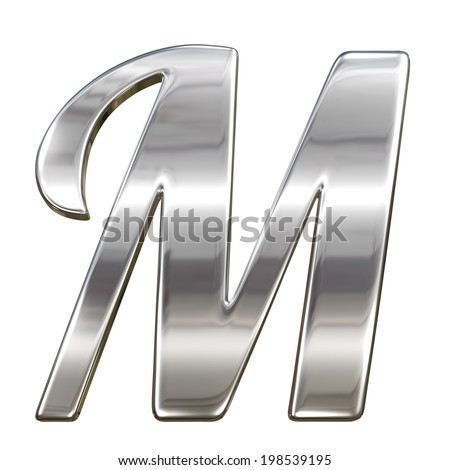 Letter M from chrome solid alphabet isolated on white - stock photo