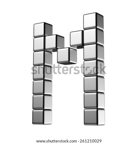 Letter M from digital cube middle perspective alphabet. There is a clipping path - stock photo